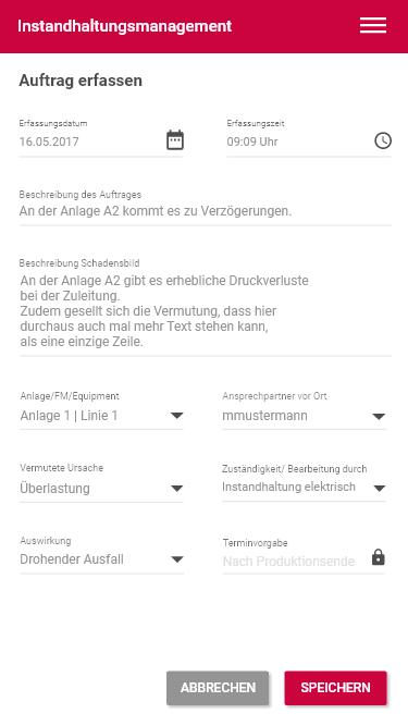 Auftrags erfassen_Instandhaltung App_Mobile Instandhaltung mit Progressive Web Apps