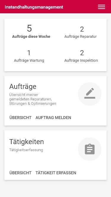 Dashboard Instandhaltung App_Startbildschirm_Mobile Instandhaltung mit Progressive Web Apps