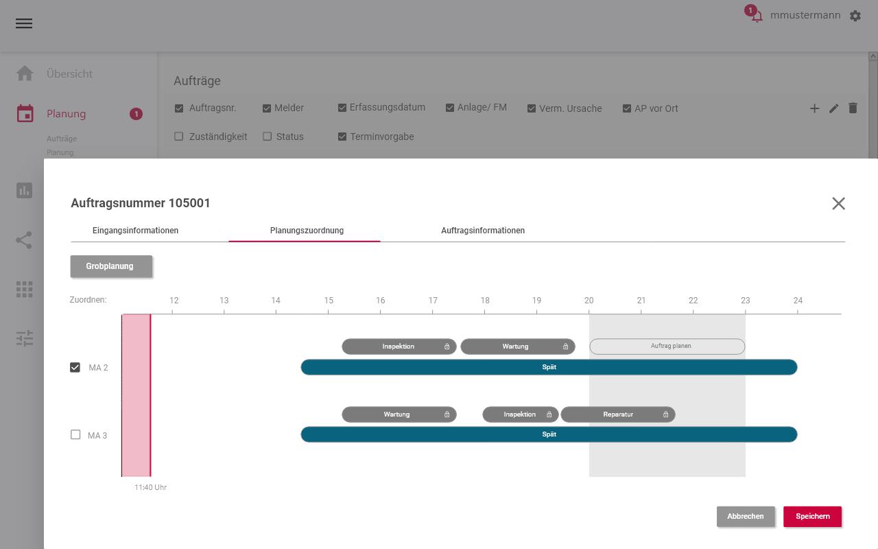 Planung Aufträge - Planungszuordng einem MA zugewiesen - Instandhaltungssoftware