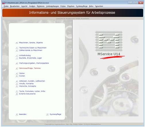 Instandhaltungssoftware: Startmenü von der Instandhaltungs- und Wartungssoftware von MService 4.0. Darstellung auf dem Desktop