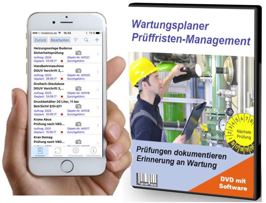 Instandhaltungssoftware von Wartungsplaner: enthalten sind eine DVD mit Software auch für Smartphones